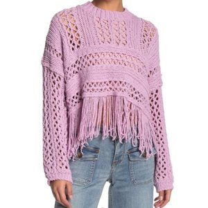 NWT Free People Higher Love Crochet Sweater Lilac